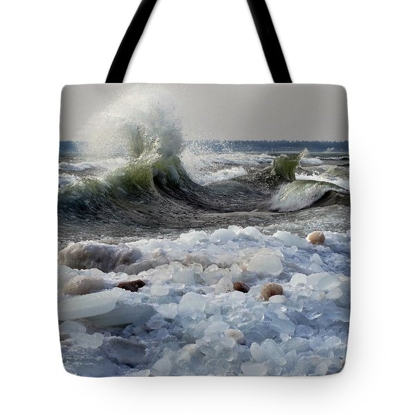 Winter Waves At Whitefish Dunes Tote Bag