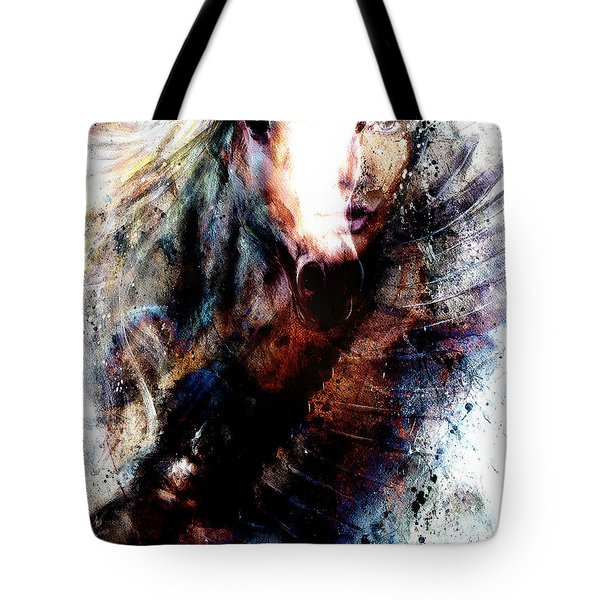 Woman And Flying Eagle. Beautiful Painting Illustration Collage Tote Bag