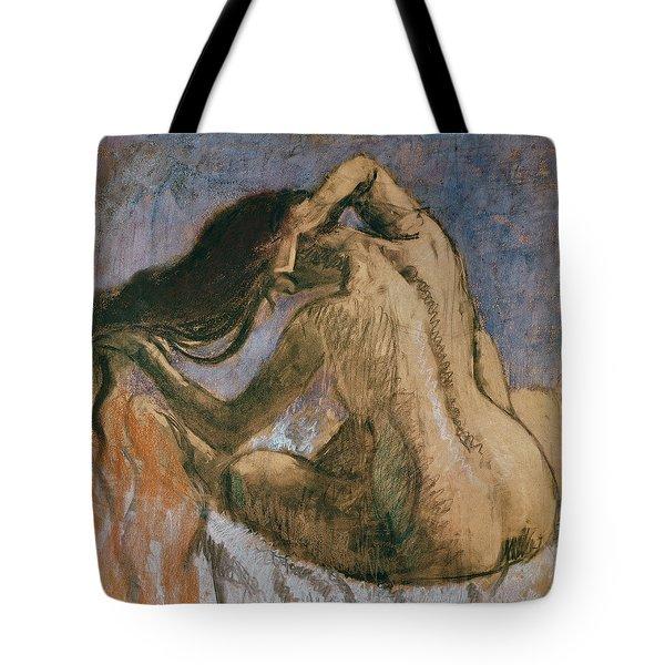 Woman Combing Her Hair Tote Bag by Edgar Degas