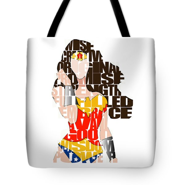 Wonder Woman Inspirational Power And Strength Through Words Tote Bag