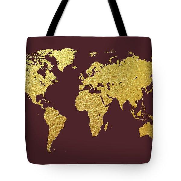 World Map Gold Foil Tote Bag
