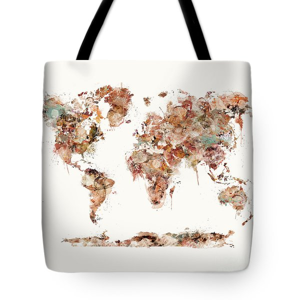 Tote Bag featuring the painting World Map Watercolor by Bri B