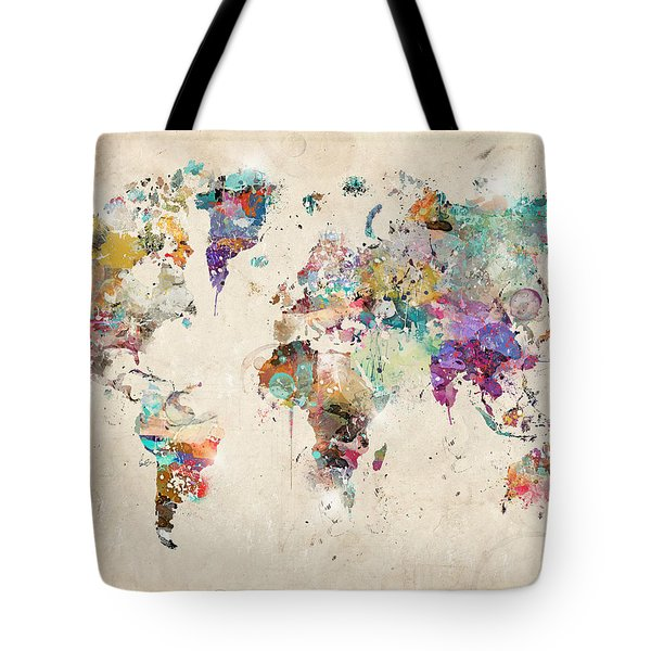 World Map Watercolor Tote Bag