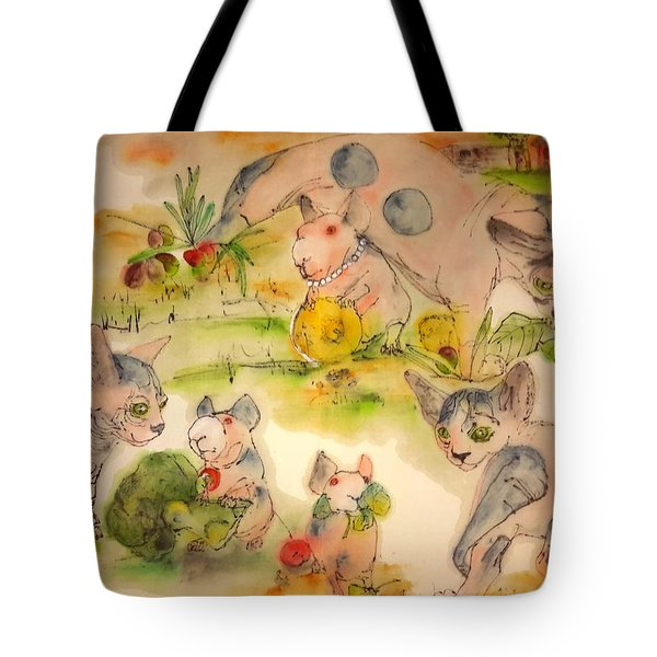 Tote Bag featuring the painting World Of Guinea Pigs And Naked Cats Album by Debbi Saccomanno Chan