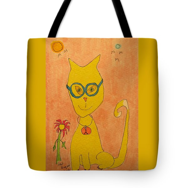 Yellow Cat With Glasses Tote Bag