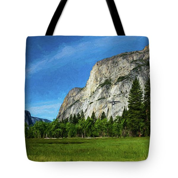 Yosemite Valley Meadow Panorama Tote Bag