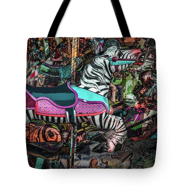 Tote Bag featuring the photograph Zebra Carousel by Michael Arend
