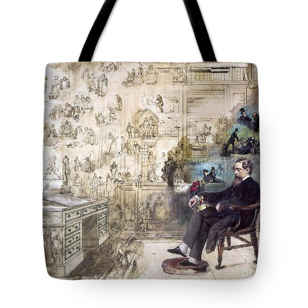 Tote Bag featuring the photograph Charles Dickens 1812-1870.  To License For Professional Use Visit Granger.com by Granger