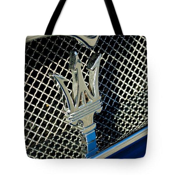 2002 Maserati Combiocorsa Spyder Hood Ornament Tote Bag by Jill Reger