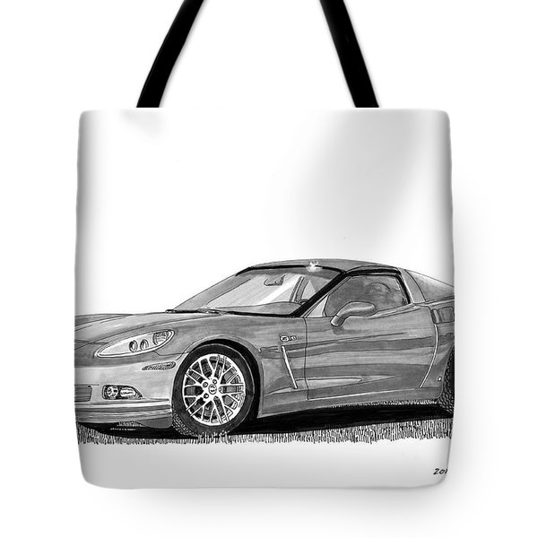Tote Bag featuring the painting  Corvette Roadster, Silver Ghost by Jack Pumphrey