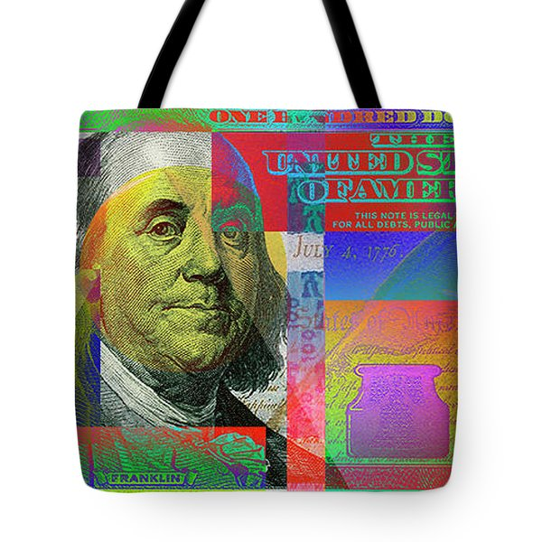 2009 Series Pop Art Colorized U. S. One Hundred Dollar Bill No. 1 Tote Bag