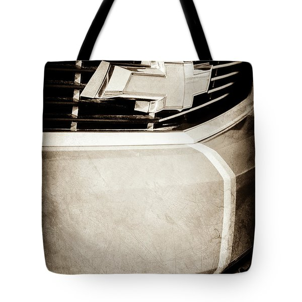 Tote Bag featuring the photograph 2011 Chevrolet Camaro Grille Emblem -0321s by Jill Reger