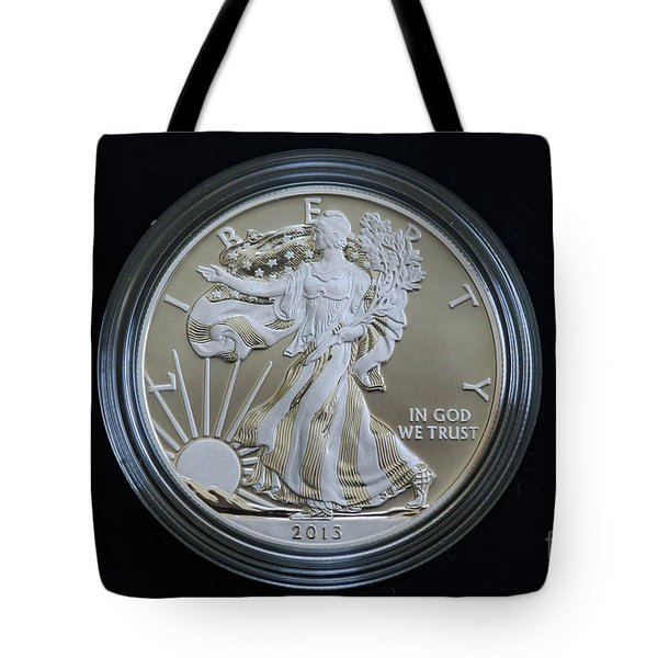 Tote Bag featuring the photograph 2013 Enhanced Uncirculated Silver Eagle Dollar Coin by Randy Steele