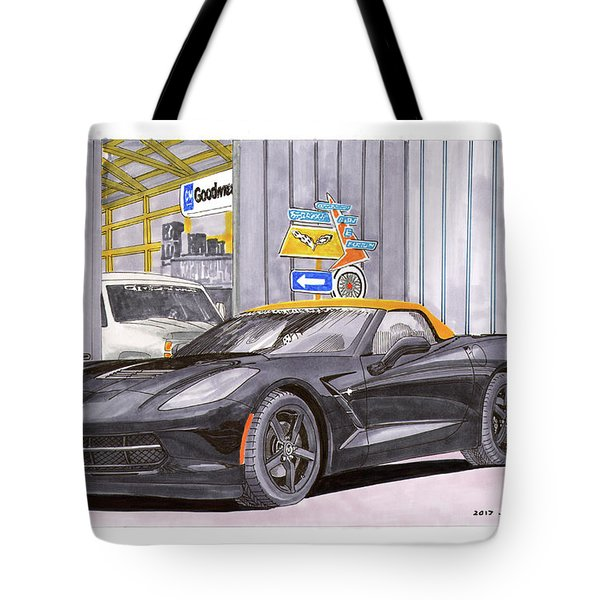 2014 Corvette And Man Cave Garage Tote Bag by Jack Pumphrey