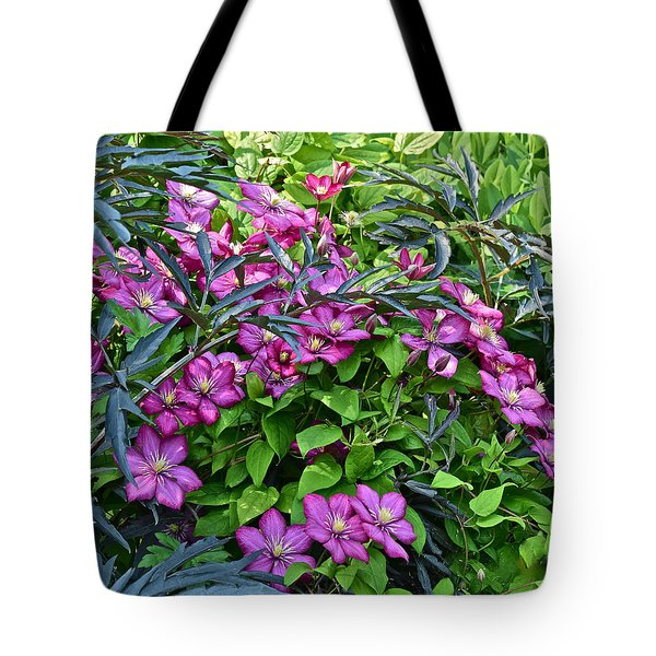 2015 Summer At The Garden Beautiful Clematis Tote Bag