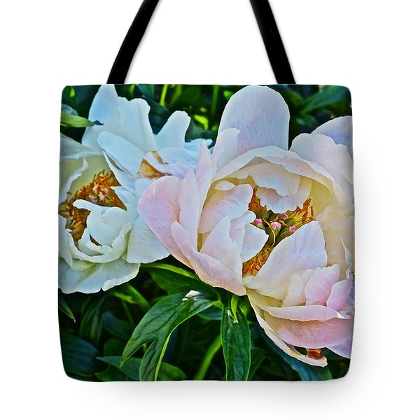 2015 Summer's Eve At The Garden White Peony Duo Tote Bag