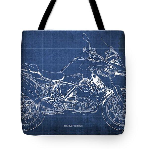 2016 Bmw R1200gs Blueprint Blue Background Tote Bag