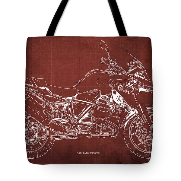 2016 Bmw R1200gs Blueprint Red Background Tote Bag