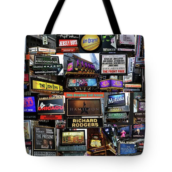 Tote Bag featuring the photograph 2016 Broadway Fall Collage by Steven Spak