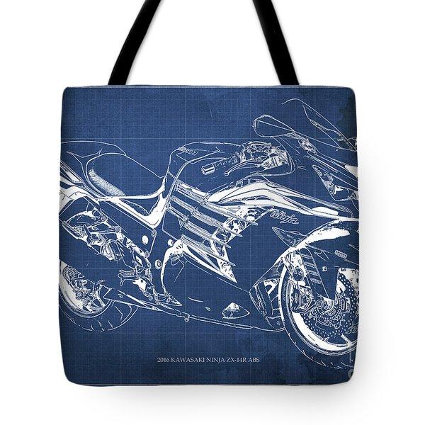 2016 Kawasaki Ninja Zx-14r Abs Blueprint Blue Background Tote Bag