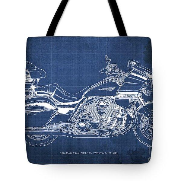 2016 Kawasaki Vulcan 1700 Voyager Abs Blueprint Blue Background Tote Bag
