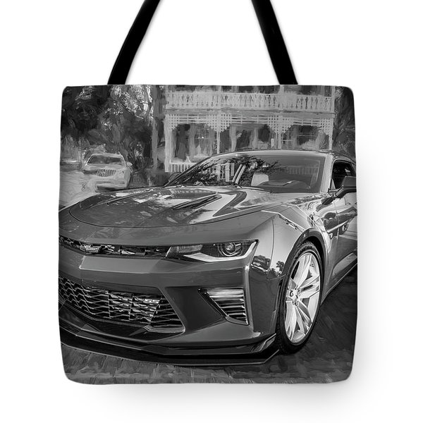 Tote Bag featuring the photograph 2017 Chevrolet Camaro Ss2 Bw by Rich Franco