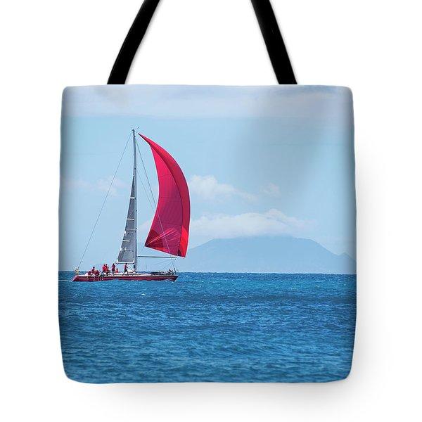 2017 Heineken Regatta Sailing Past Saba Saint Martin Sint Maarten Red Sail Tote Bag