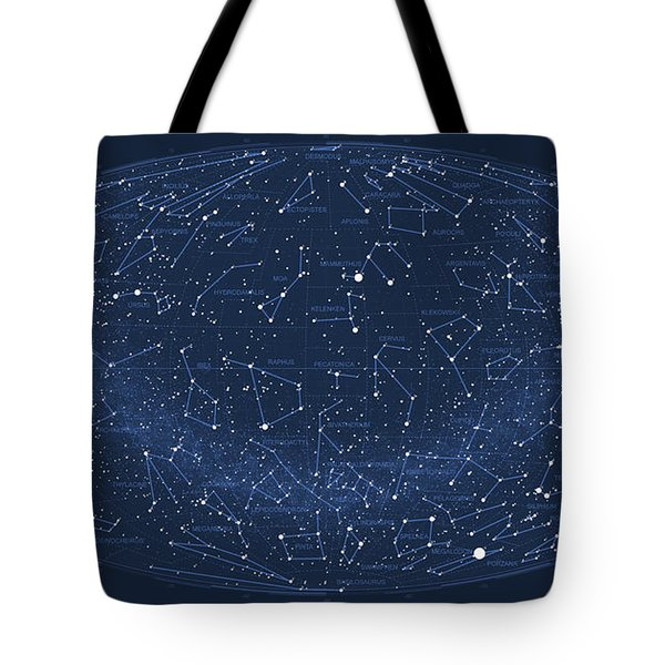 2017 Pi Day Star Chart Hammer/aitoff Projection Tote Bag by Martin Krzywinski