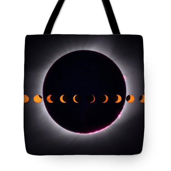 Tote Bag featuring the photograph 2017 Total Eclipse And Moon Path by Mark Dodd