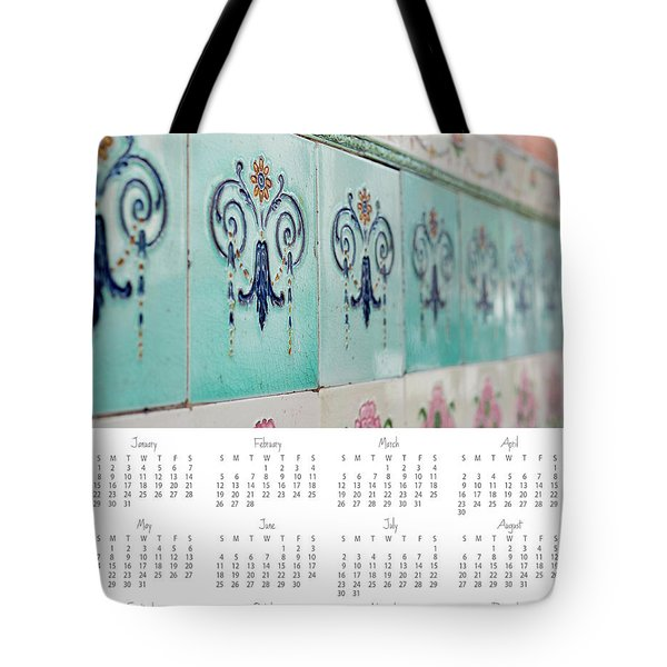 Tote Bag featuring the photograph 2017 Wall Calendar Blue Ceramic Tiles by Ivy Ho