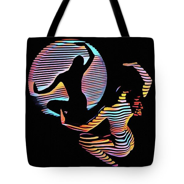 2039s-mak Female Figure In Spotlight Rendered In Composition Style Tote Bag