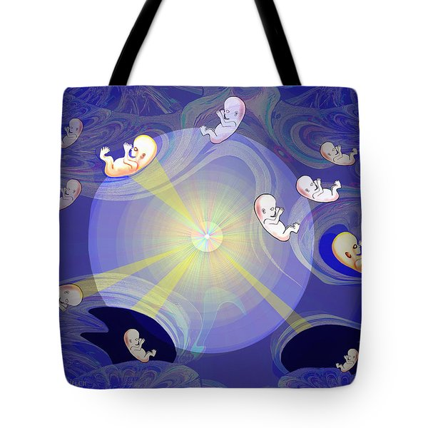 Tote Bag featuring the digital art 2041 - The Beginning 2017 by Irmgard Schoendorf Welch