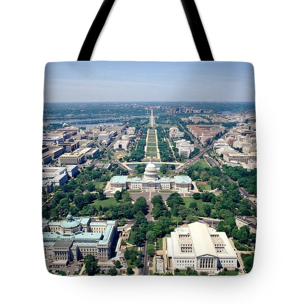 Aerial View Of Buildings In A City Tote Bag