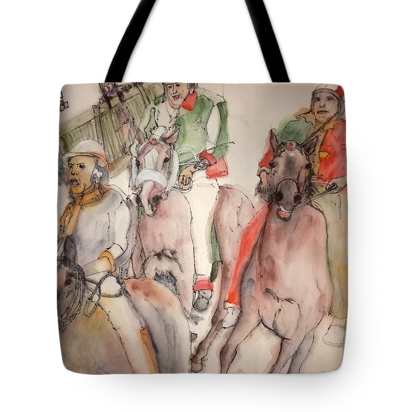 Tote Bag featuring the painting Il Palio Contrada  Lupa Album by Debbi Saccomanno Chan