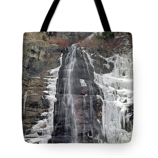 Tote Bag featuring the photograph 212m40 Bridal Veil Falls Utah by Ed Cooper Photography