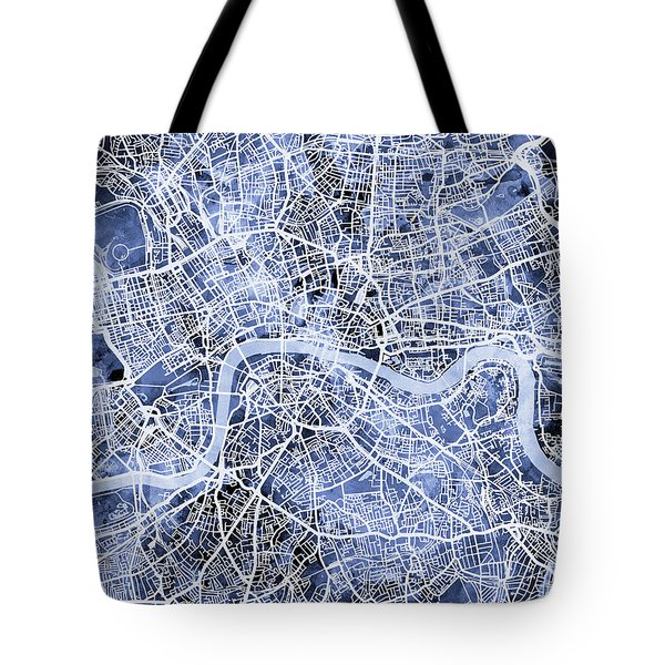 London England Street Map Tote Bag