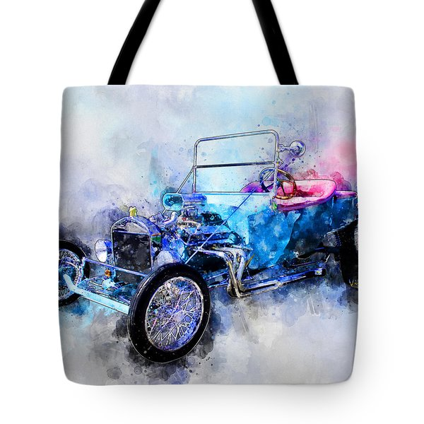 23 Model T Hot Rod Watercolour Illustration Tote Bag