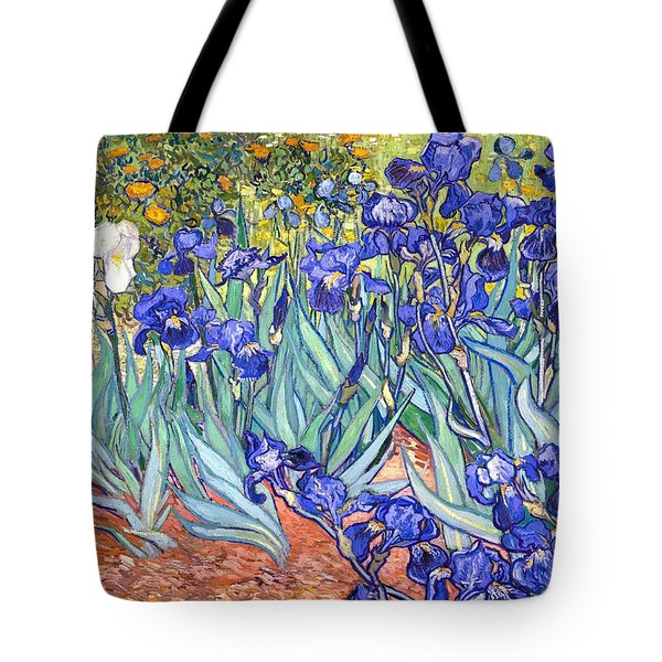 Tote Bag featuring the painting Irises by Vincent Van Gogh