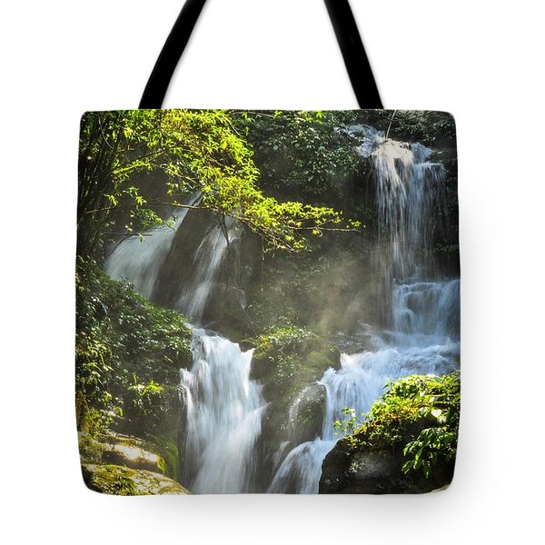 Tote Bag featuring the photograph Waterfall Scenery by Carl Ning