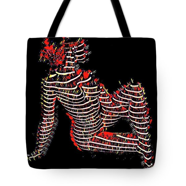 2450s-mak Lined By Light Nude Woman Rendered As Abstract Oil Painting Tote Bag