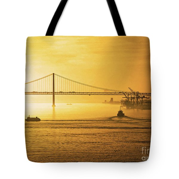 25 April Bridge River Tagus Lisbon At Sunset Tote Bag