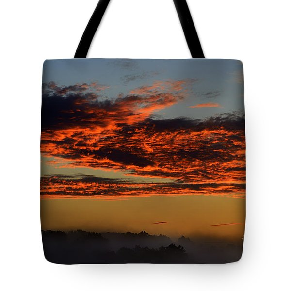 Misty Mountain Sunrise Tote Bag