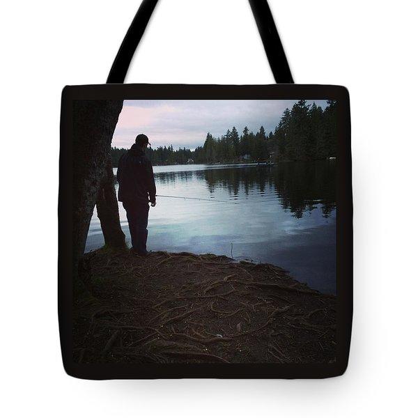 Fishing At Dusk Tote Bag
