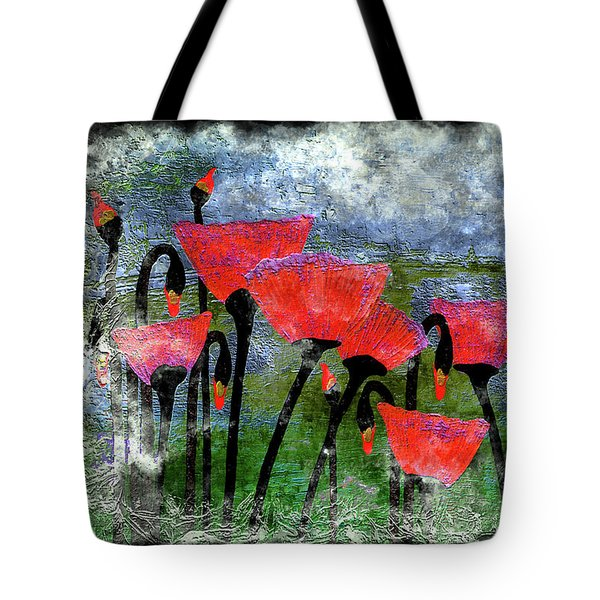 26a Abstract Floral Red Poppy Painting Tote Bag