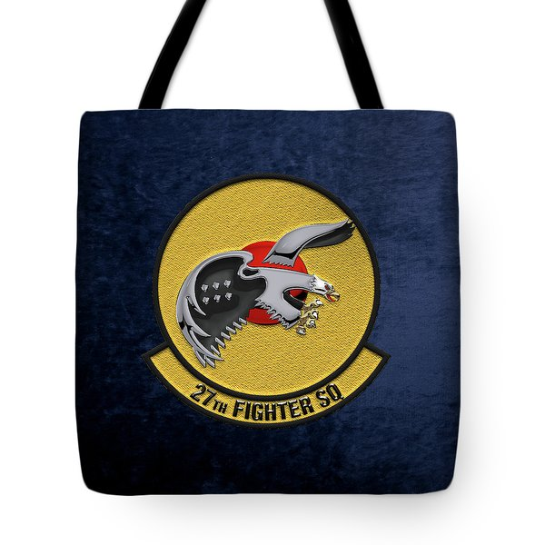 Tote Bag featuring the digital art 27th Fighter Squadron - 27 Fs Over Blue Velvet by Serge Averbukh