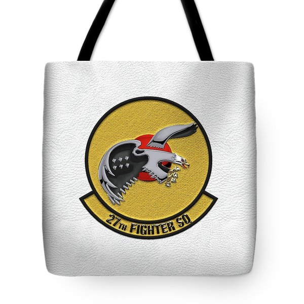 Tote Bag featuring the digital art 27th Fighter Squadron - 27 Fs Patch Over White Leather by Serge Averbukh