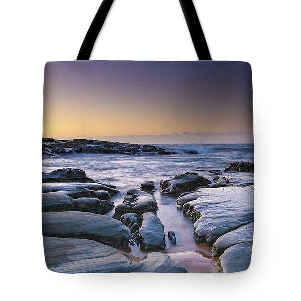 Sunrise Seascape And Rock Platform Tote Bag