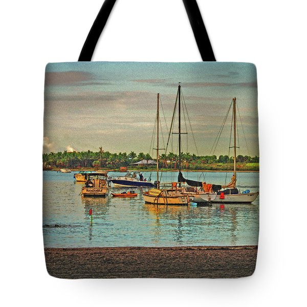Tote Bag featuring the digital art 3- Anchored Out by Joseph Keane