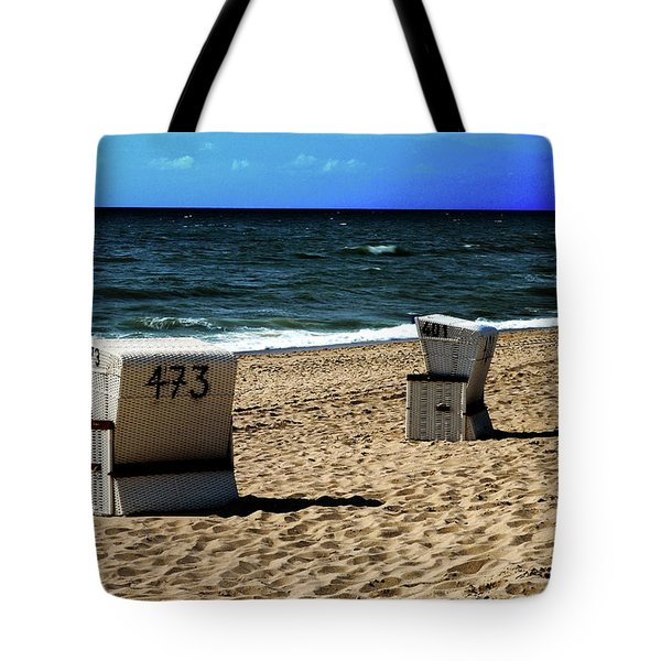 3 Beach Chairs Tote Bag by Hannes Cmarits