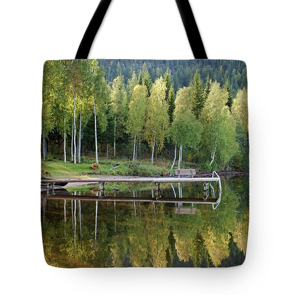 Birches And Reflection Tote Bag by Aivar Mikko